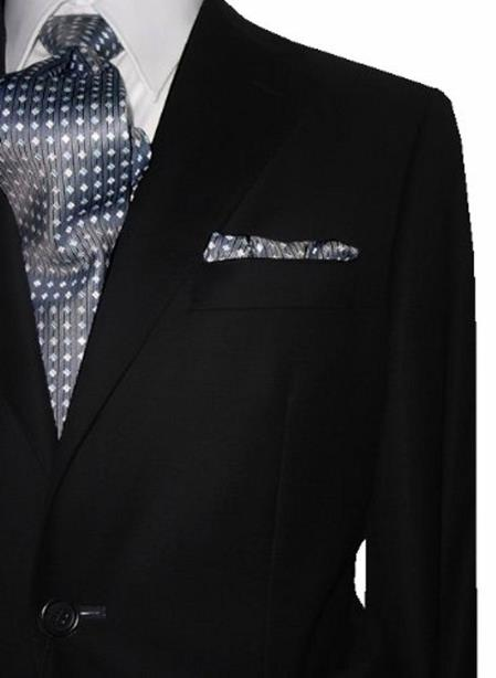 Mens 2Button EURO SLIM Notch Lapel Solid Black Pure 1 Virgin Wool Suit