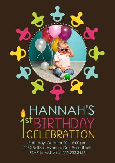 1st Birthday Invitations 5x7 Cards, Premium Cardstock 120lb with Elegant Corners, Card & Stationery -1st Birthday Pacifiers - Girl