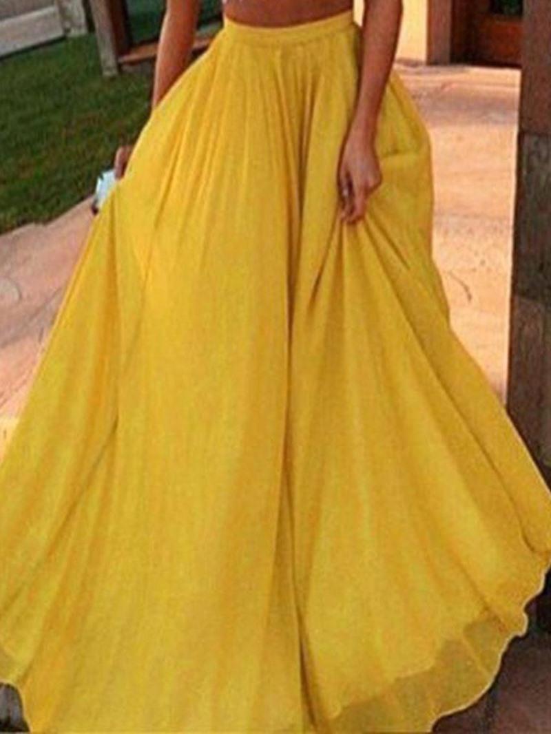 Ericdress Plain Floor-Length Expansion Casual High Waist Skirt