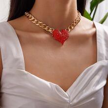 Collar de cadena con diseño de corazon grabado con diamante de imitacion 1 pieza