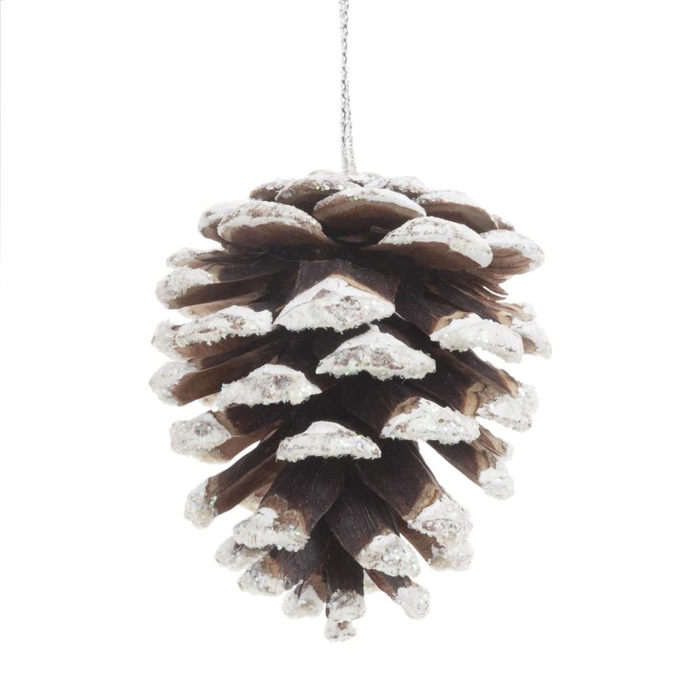 Weihnachtliche Haengedeko, beschneiten Tannenzapfen