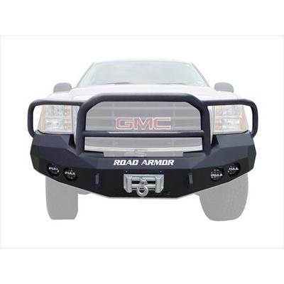 Road Armor Front Stealth Winch Bumper Lonestar Round Light Port in Satin Black (Black) - 37405B