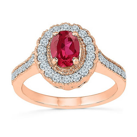Womens Lab Created Red Ruby 10K Rose Gold Cocktail Ring, 6 , No Color Family