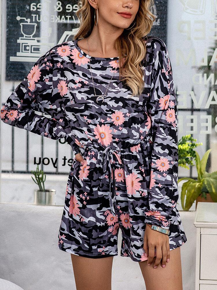 Plus Size Women Daisy Camo Print Ribbed Onesies Pajamas With Waist Tie