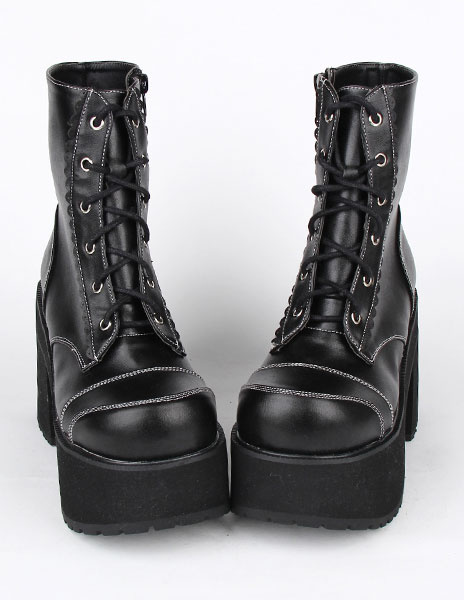 Milanoo Black PU Leather Lolita Heel Boots for Girls