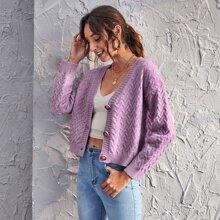 Drop Shoulder Button Front Cardigan