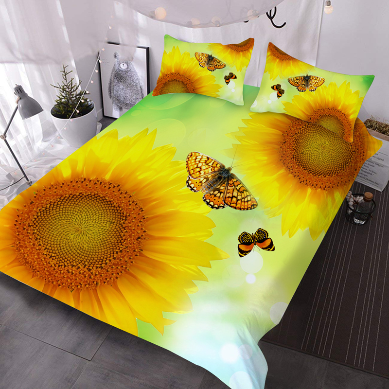 Sunflowers and Butterflies 3Pcs 3D Bedding Down Comforter Insert with 2 Pillow Covers Microfiber Wrinkle/Fade Resistant Comforter
