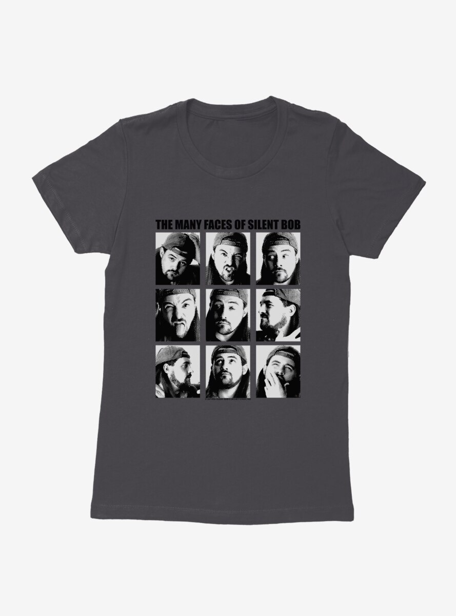 Jay And Silent Bob Reboot The Many Faces of Silent Bob Womens T-Shirt
