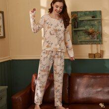 Schlafanzug Set mit Blumen Muster