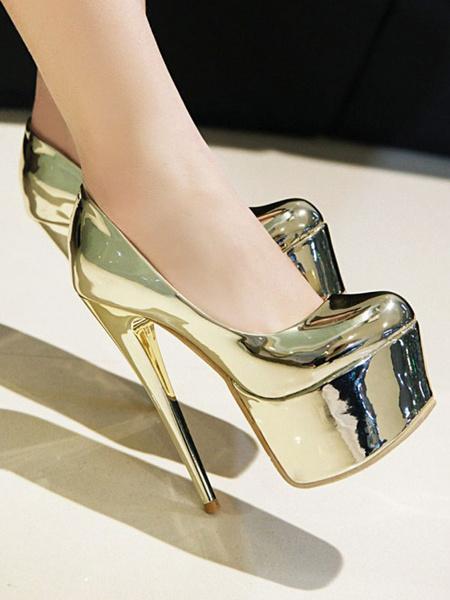 Milanoo Women Sexy High Heels Light Gold Round Toe Sexy Shoes