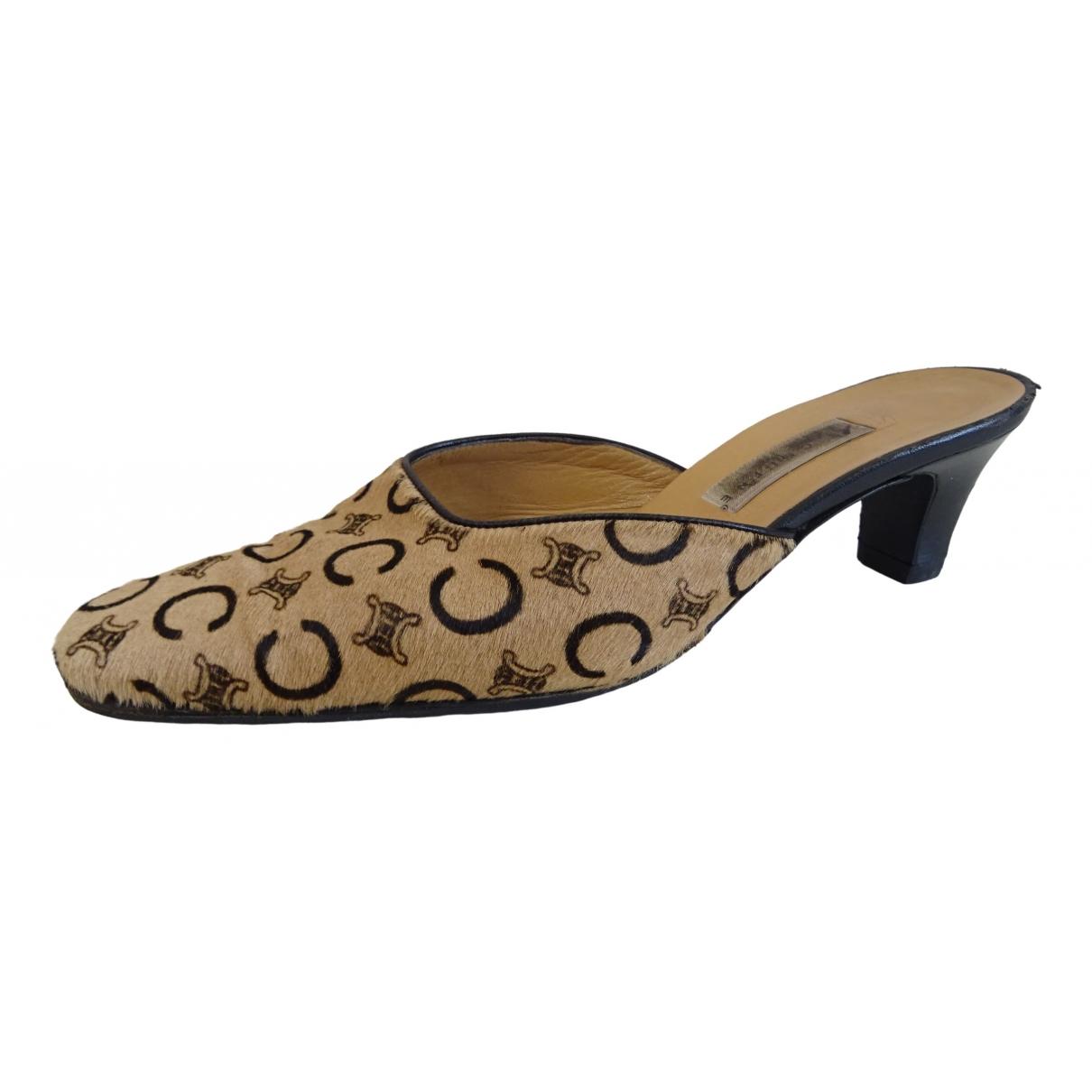 Celine \N Beige Pony-style calfskin Sandals for Women 38 EU