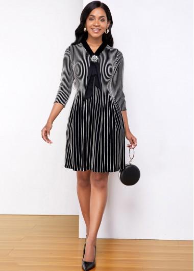 Black Dresses Three Quarter Sleeve Striped Contrast Sweater Dress - S