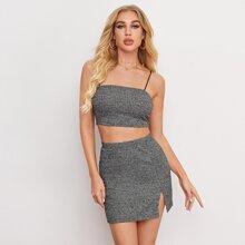 Rib-Knit Cami Top & Split Hem Skirt Set