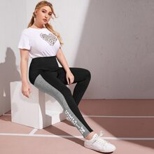 Plus Wide Waistband Letter Graphic Contrast Panel Leggings