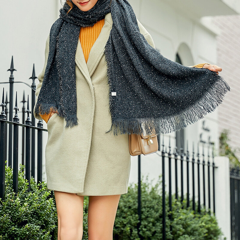 Women Woolen Blending Ethnic Style Scarf Shawl Casual Warm Breathable Sunscreen Scarf