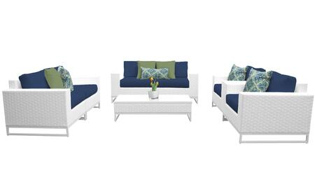 Miami MIAMI-07c-NAVY 7-Piece Wicker Patio Furniture Set 07c with 1 Coffee Table  2 Club Chairs  2 Left Arm Chairs and 2 Right Arm Chairs - Sail White