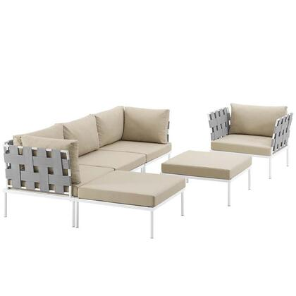 Harmony Collection EEI-2626-WHI-BEI-SET 6-Piece Outdoor Patio Aluminum Sectional Sofa with Armchair  Armless Chair  2 Corner Sofas and 2 Ottomans in