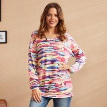 LUUKSE Sweatshirt mit sehr tief angesetzter Schulterpartie und Camo Muster