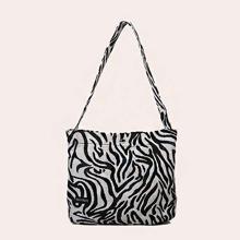 Letter Graphic Zebra Print Shoulder Bag