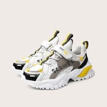 Boys Letter Graphic Velcro Strap Chunky Sneakers