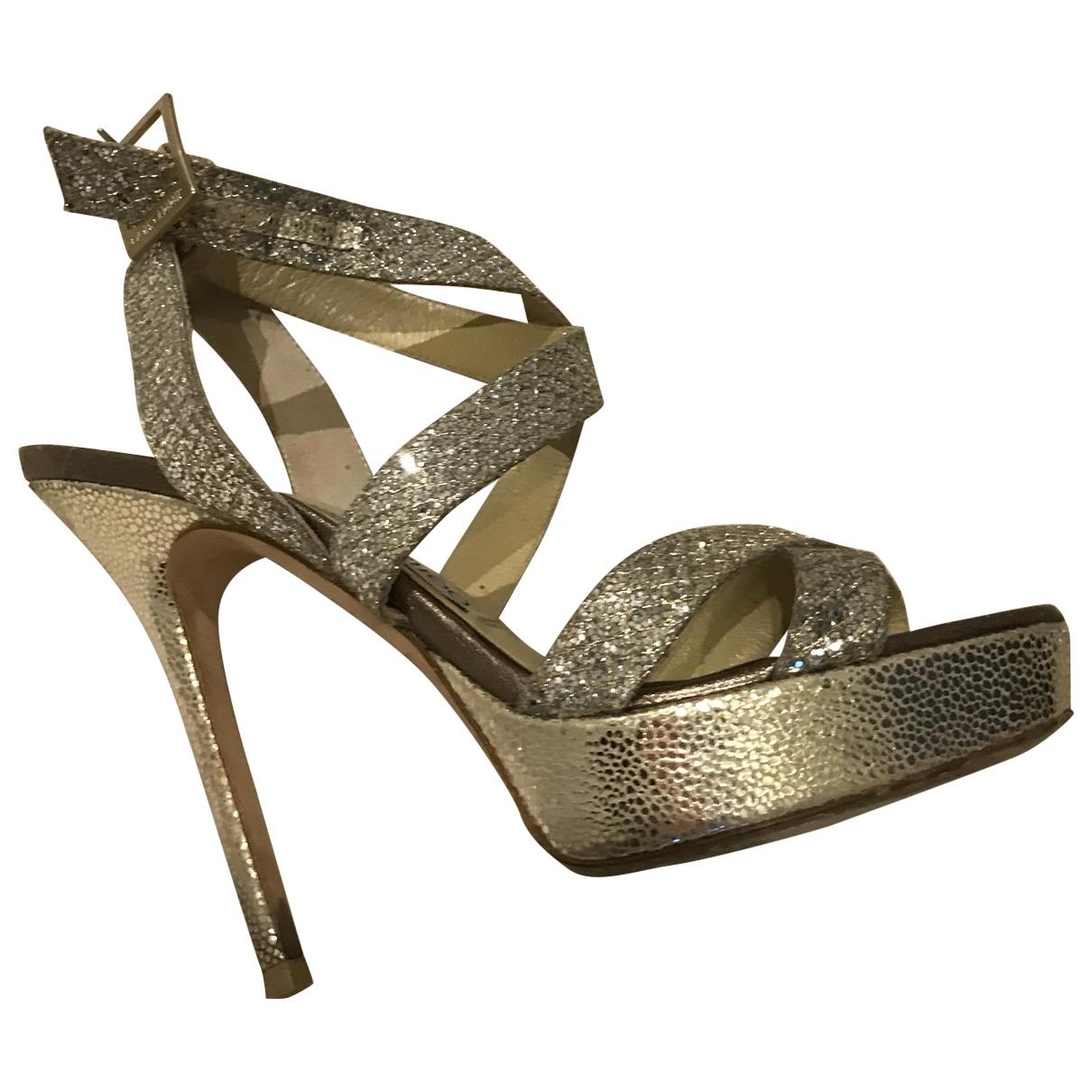 Jimmy Choo Emily Silver Glitter Sandals for Women 37.5 EU