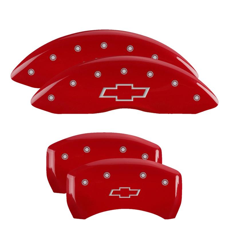 MGP Caliper Covers 14027SBOWRD Set of 4: Red finish, Silver Bowtie/Bowtie Chevrolet Camaro 1998-2002