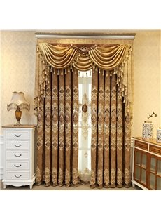 Embroidery Window Blackout Noise-Free Grommet Top Curtain Panels for Living Room