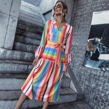 Rainbow Stripe Bishop Sleeve Belted A-line Dress