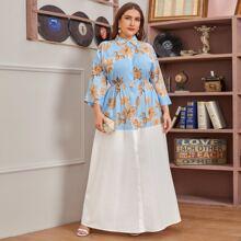 Plus Floral Print Colorblock Shirt Dress