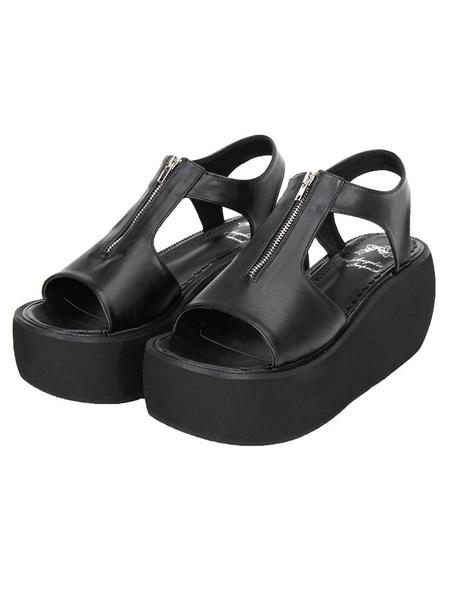 Milanoo Gothic Matte Black Lolita Sandals Platform Zipper Designed