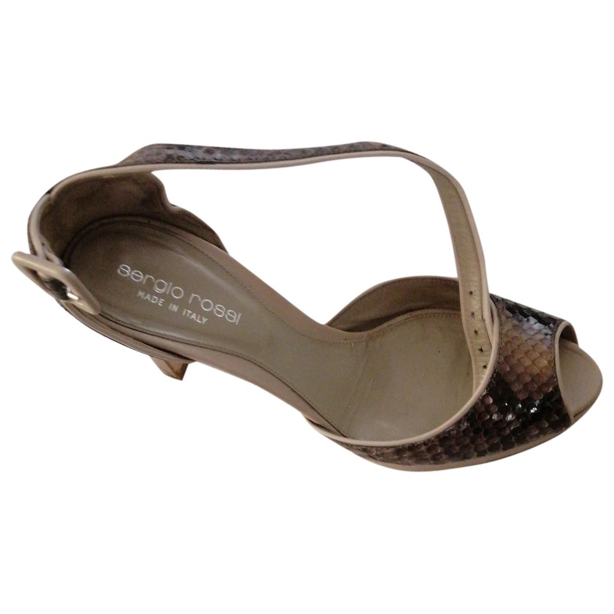 Sergio Rossi \N Brown Python Sandals for Women 35.5 EU
