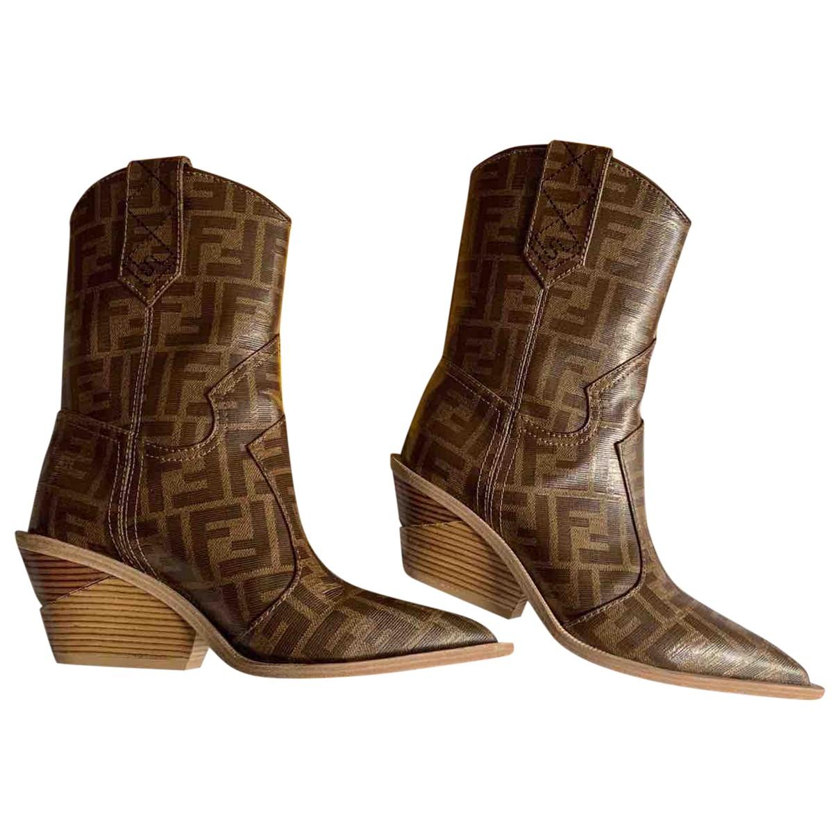 Fendi - Boots   pour femme en cuir - marron