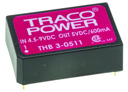 TRACOPOWER THB 3 3W Isolated DC-DC Converter Through Hole, Voltage in 4.5 → 9 V dc, Voltage out 5V dc Medical