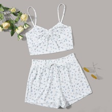 Ruched Knot Front Ditsy Floral Cami Top & Shorts PJ Set