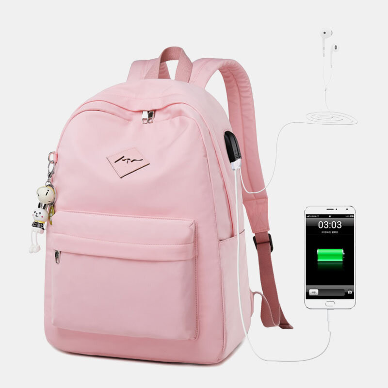 Student USB Charging Solid School Bookbag 15.6'' Laptop Backpack