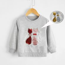 Sweatshirt mit Katze Pailletten Flicken