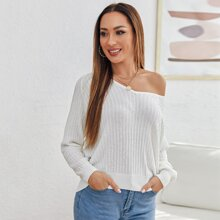 Asymmetrical Neck Raglan Sleeve Sweater
