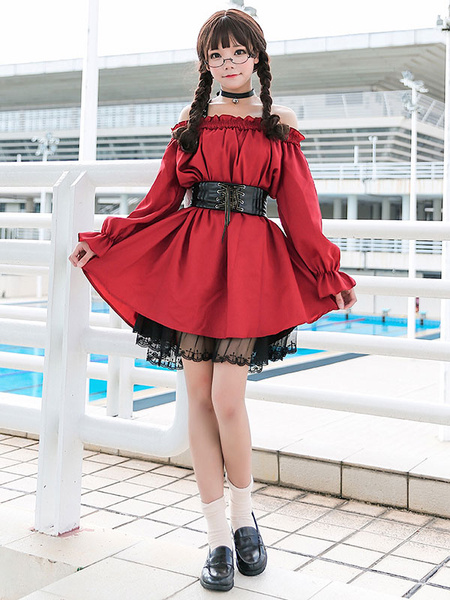 Milanoo Classic Lolita OP Dress Lace Trim Frill Red Lolita One Piece Dress