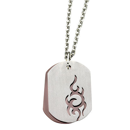 Mens Stainless Steel Brown Ion-Plated Dog Tag Pendant, One Size , No Color Family