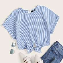 Striped Tie Front Zip Back Blouse