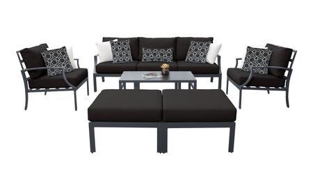 Lexington LEXINGTON-08c-BLACK 8-Piece Aluminum Patio Set 08c with 1 Left Arm Chair  1 Right Arm Chair  1 Coffee Table  1 Armless Chair  2 Ottomans