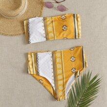 Bandeau Bikini Badeanzug mit Stamm Muster und Band hinten