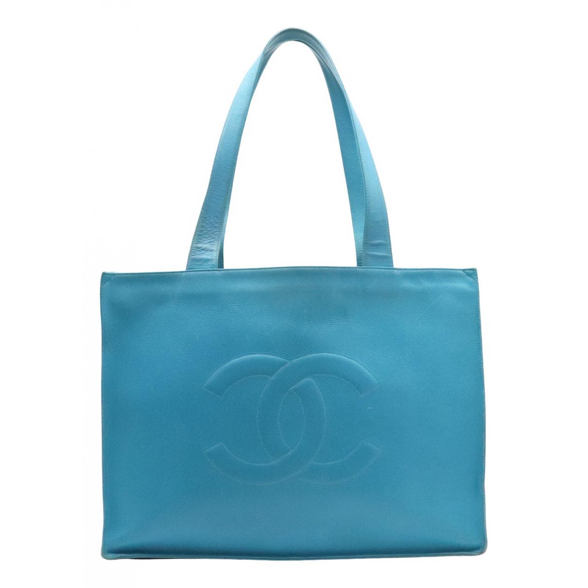 Chanel - Sac a main   pour femme en cuir - turquoise