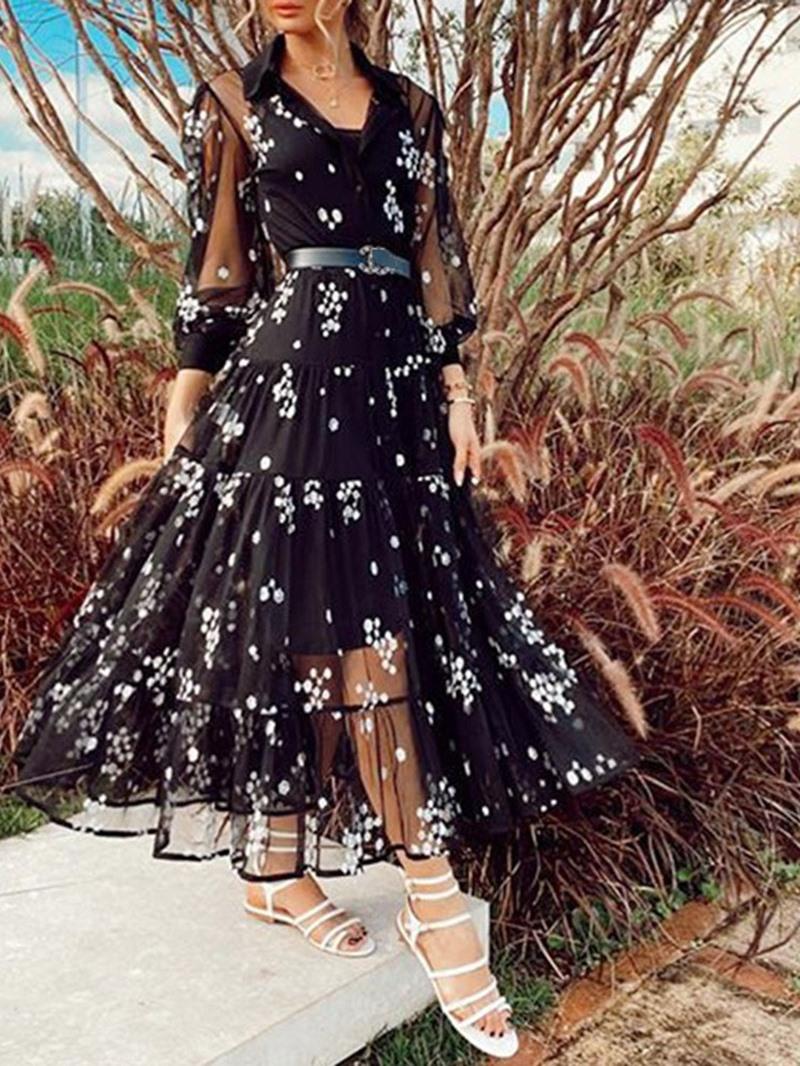 Ericdress Ankle-Length Lapel Print Mid Waist Summer Dress