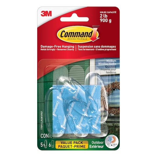 Command™ Outdoor Clear Medium Window Hooks Value ct By 3M | Michaels®