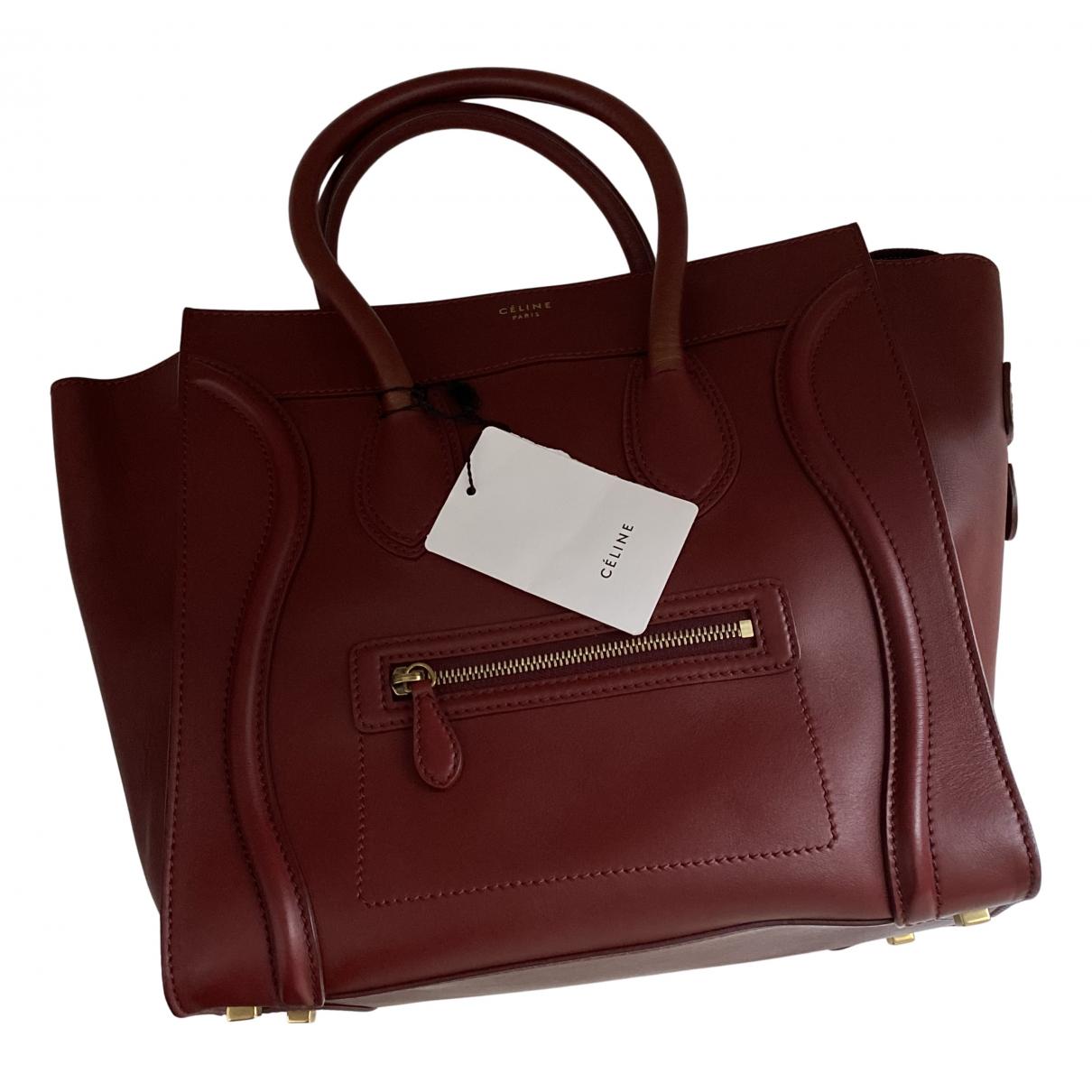 Celine Luggage Phantom Burgundy Leather handbag for Women N
