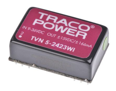 TRACOPOWER TVN 5WI 5W Isolated DC-DC Converter Through Hole, Voltage in 9 → 36 V dc, Voltage out ±15V dc