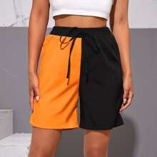 Two Tone Tie Waist Shorts