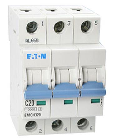 Eaton MEMShield 20 A MCB Mini Circuit Breaker, 3P Curve C