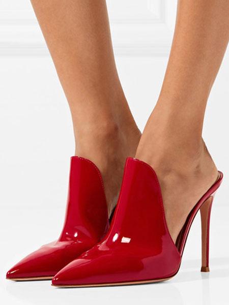 Milanoo Mulas rojas de puntera puntiaguada para pasar por la noche Charol PU de tacon de stiletto estilo moderno